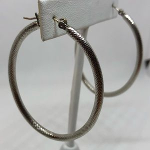 Silver Textured Oval Hoops